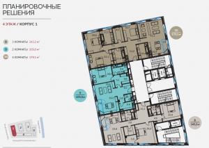 Планировка 4-го этажа 1-го корпуса ЖК Балчуг Резиденс
