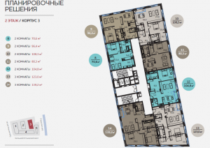 Планировка 2-го этажа 3-го корпуса ЖК Балчуг Резиденс