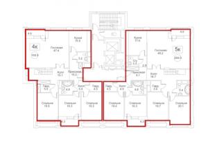 Планировка 10-го этажа 7-го корпуса 1-й секции ЖК РЕДСАЙД