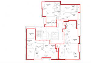 Планировка с 12-го по 13-й этаж 2-го корпуса 2-й секции ЖК РЕДСАЙД