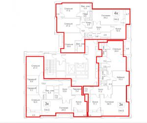 Планировка с 12-го по 13-й этаж 3-го корпуса 2-й секции ЖК РЕДСАЙД