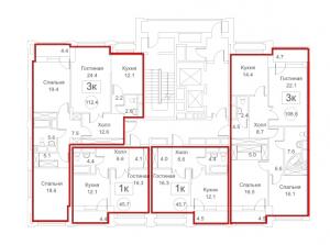 Планировка с 3-го по 18-й этаж 5-го корпуса 1-й секции ЖК РЕДСАЙД