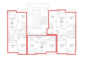 Планировка с 3-го по 18-й этаж 5-го корпуса 2-й секции ЖЕ РЕДСАЙД
