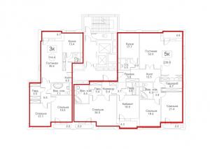 Планировка 13-го этажа 8-го корпуса 4-й секции ЖК РЕДСАЙД