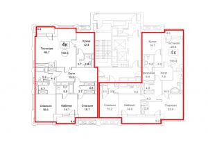 Планировка с 16-го по 17-й этаж 1-го корпуса 1-й секции ЖК РЕДСАЙД