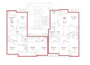 Планировка с 19-го по 20-й этаж 5-го корпуса 2-й секции ЖК РЕДСАЙД