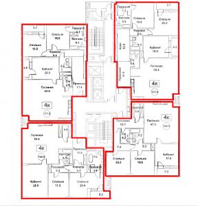 Планировка 21-го этажа 4-го корпуса 1-й секции ЖК РЕДСАЙД