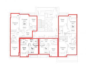Планировка 2-го этажа 1-го корпуса 1-й секции ЖК РЕДСАЙД
