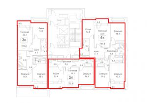 Планировка 2-го этажа 1-го корпуса 2-й секции ЖК РЕДСАЙД