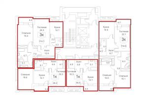 Планировка 2-го этажа 5-го корпуса 1-й секции ЖК РЕДСАЙД