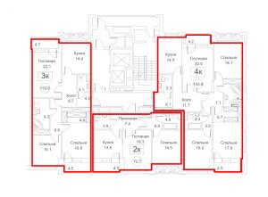 Планировка 2-го этажа 5-го корпуса 2-й секции ЖК РЕДСАЙД