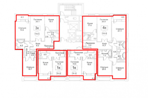 Планировка 2-го этажа 7-го корпуса 1-й секции ЖК РЕДСАЙД