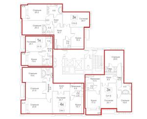 Планировка 2-го этажа 7-го корпуса 2-й секции ЖК РЕДСАЙД