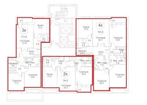 Планировка 2-го этажа 8-го корпуса 4-й секции ЖК РЕДСАЙД
