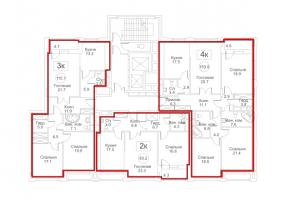 Планировка с 3-го по 12-й этаж 8-го корпуса 4-й секции ЖК РЕДСАЙД