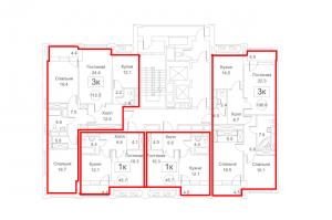 Планировка с 3-го по 15-й этаж 1-го корпуса 1-й секции ЖК РЕДСАЙД