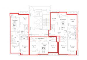 Планировка с 3-го по 15-й этаж 1-го корпуса 2-й секции ЖК РЕДСАЙД