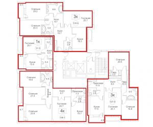 Планировка с 3-го по 6-й этаж 7-го корпуса 2-й секции ЖК РЕДСАЙД