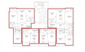 Планировка с 3-го по 9-й этаж 7-го корпуса 1-й секции ЖК РЕДСАЙД