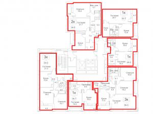 Планировка 3-го этажа 2-го корпуса 2-й секции ЖК РЕДСАЙД