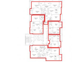 Планировка с 4-го по 11-й этаж 2-го корпуса 1-й секции ЖК РЕДСАЙД