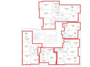 Планировка с 4-го по 11-й этаж 2-го корпуса 2-й секции ЖК РЕДСАЙД