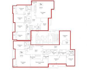 Планировка 7-го этажа 7-го корпуса 2-й секции ЖК РЕДСАЙД