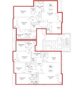 Планировка 7-го этажа 8-го корпуса 1-й секции ЖК РЕДСАЙД
