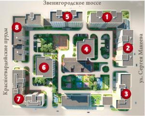 Расположение корпусов ЖК Редсайд